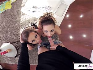 Abigail Mac and Jessica get banged in many postures