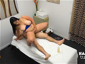 Hidden camera massage bed bang-out