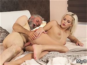 youthfull dark haired slurps and pulverizes older dude sauna Surprise your girlcompanion and she will