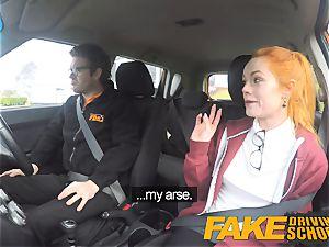 fake Driving college cute redhead Ella Hughes pulverizes