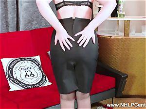 steamy babe peels off black underwear wanks in nylon garter
