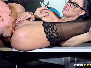 ample boobed Peta Jensen penetrated throughout the boardroom table