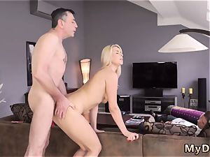 aggressive aged man and giantess towheaded city sleepy man missed how his parent romps his