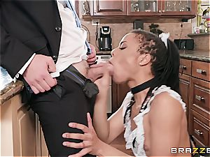 steaming dark-hued maid almost get caught