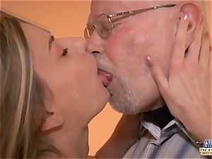 young secretary plows old man boss drills jaw-dropping chick