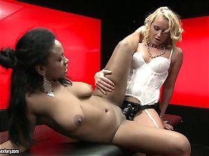 rough Kathia Nobili shoves her cord on weenie deep down her partner facehole