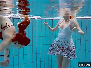 super hot Russian nymphs swimming in the pool