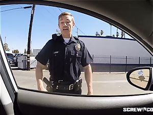 CAUGHT! ebony nymph gets spilled blowing off a cop