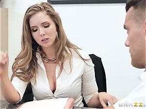 Office screw with buxom chief Lena Paul