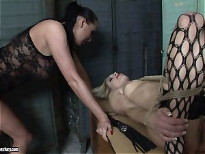 Mandy Bright bound a sizzling lady in net tights