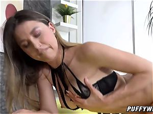 brunette angel tears up her puffy snatch with fuck-a-thon toys