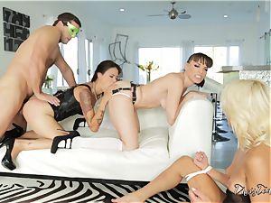 gonzo beaver thrashing action with three kinky babes