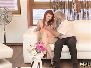 elder grandmother fisting first-ever time unexpected experience with an aged gentleman