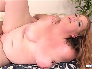 red-hot plus-size Ginger Rose Takes a giant salami