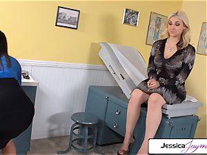 Jessica Jaymes and Sarah Vendella throating a huge pink cigar