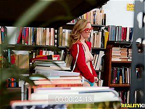 bodacious and nerdy doll got her face sprayed with jism in a library