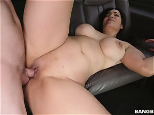 Smoking steaming black-haired picked up and porked on the BangBus