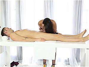 fabulous masseur milking timid dude