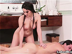 Exotic massage with all-natural dark haired hottie