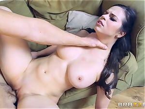 sexy black-haired Peta Jensen crammed in her fleshy coochie