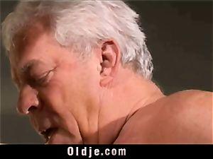 vintage older Teenie chick torn up grey hair grandfathers