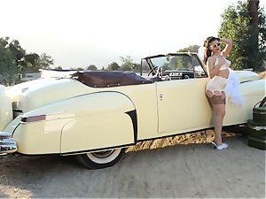 Lana Rhoades antique car poon have fun