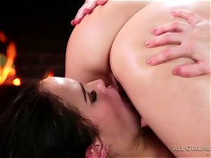 Karlie Montana and Megan Rain extraordinaire facesetting and ejaculation