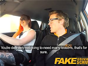 faux Driving school inked sandy-haired hungers a thick dick