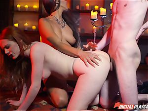 spunk swallowing 3some with stunning Ella Hughes and super-sexy stunner Mea Melone