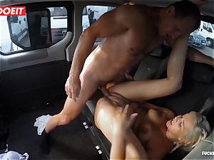 light-haired hotty bursts all over the backseat of a van