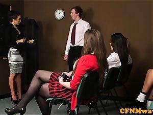 female domination cfnm tutor humiliate man in class