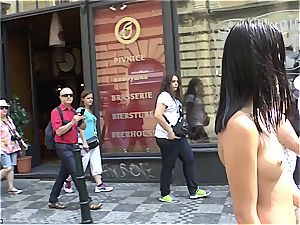 youthful sweetie doll Dee on Czech streets entirely naked