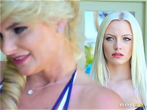 Mature bombshells Phoenix Marie and Julia Ann riding lollipop