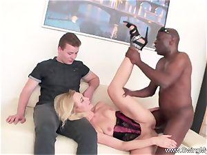 towheaded German Swinger wife plows big black cock