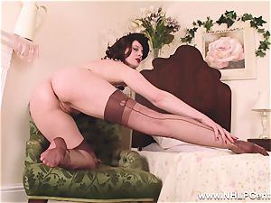 super hot cougar fuck sticks plaything to orgasm in stocking suspenders