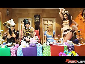 Alice in her wonderland sex party romped by the mad hatter