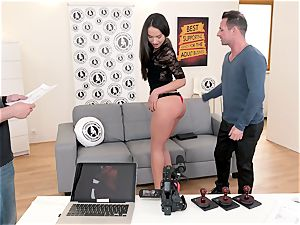 unsheathed audition - super-fucking-hot audition with stunning Russian stunner